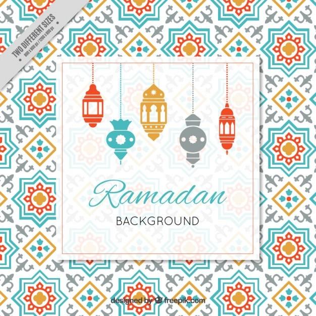Sfondo ramadan con lampade arabi Vettore gratuito