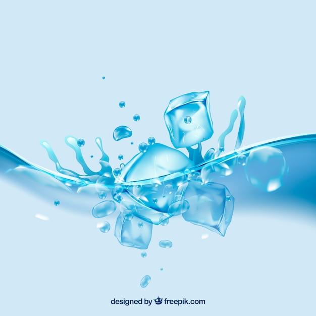 Sfondo realistico con cubetti di ghiaccio e spruzzi d'acqua Vettore gratuito
