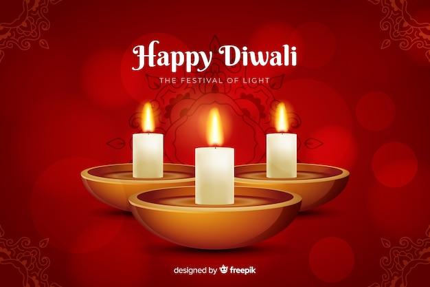 Sfondo realistico di diwali rosso Vettore gratuito