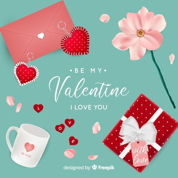 Sfondo realistico di san valentino Vettore gratuito