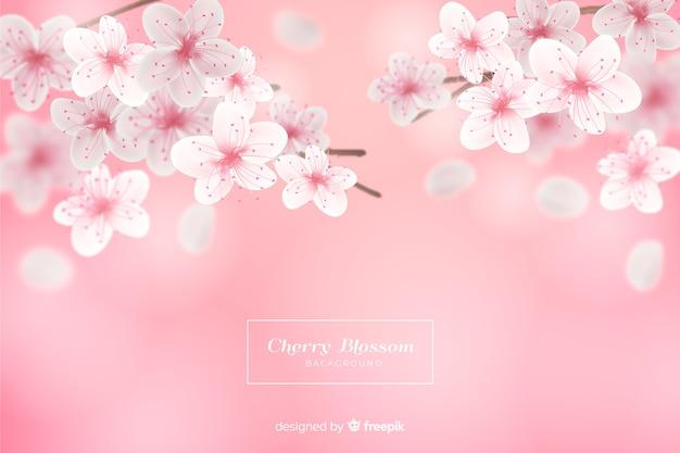 Sfondo realistico fiore di ciliegio Vettore gratuito