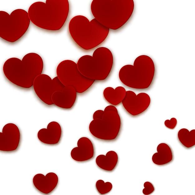 Sfondo romantico con cuori di carta rossa Vettore Premium