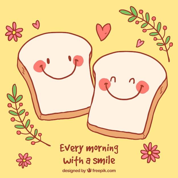 Sfondo romantico con personaggi carino di pane tostato Vettore gratuito