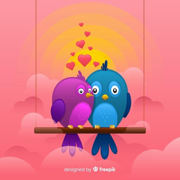 Sfondo romantico coppia di uccelli Vettore gratuito