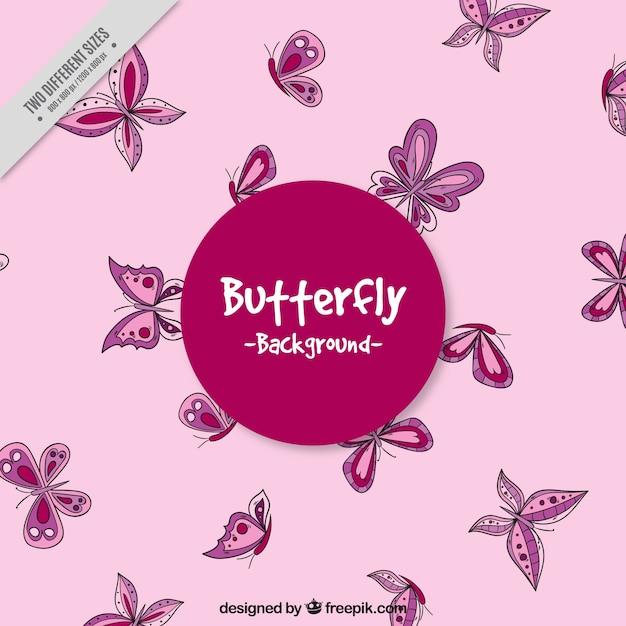 Sfondo Rosa Con Farfalle Disegnate A Mano Scaricare Vettori Gratis