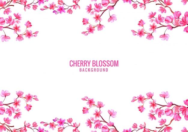 Sfondo rosa decorativo fiore di ciliegio Vettore gratuito