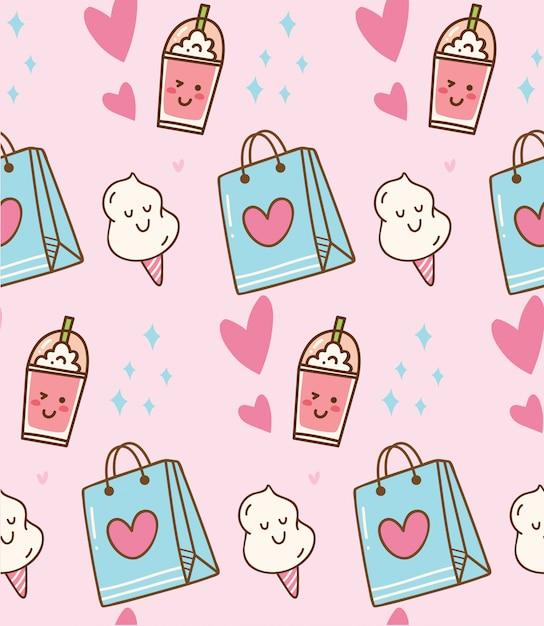 Sfondo rosa kawaii con sacchetto regalo e zucchero filato Vettore Premium