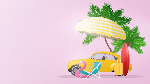 Sfondo rosa sul tema dell'estate e del turismo. palme, una sedia a sdraio, un ombrellone, una valigia gialla per il turismo, un'auto gialla, una tavola da surf rossa. manifesto. Vettore Premium