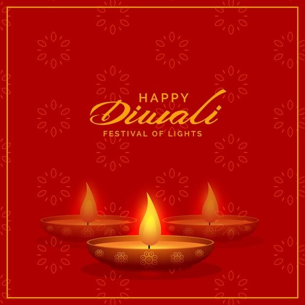 sfondo rosso con diwali diya design Vettore gratuito