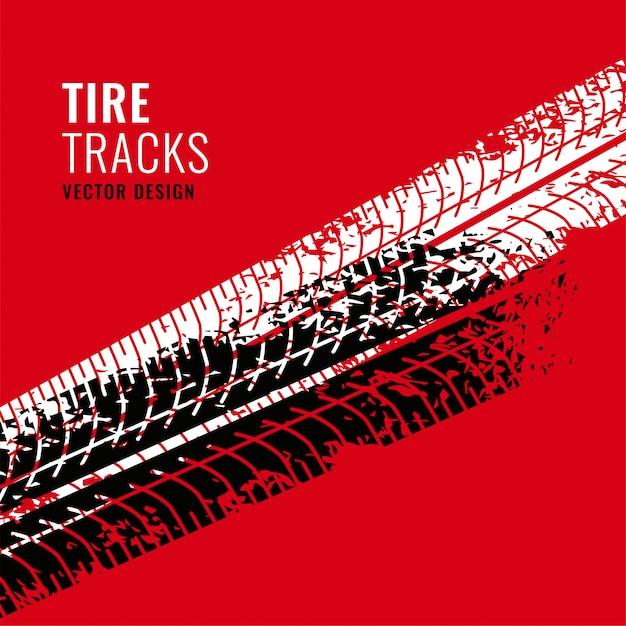 Sfondo rosso con marchio di tracce di pneumatici Vettore gratuito