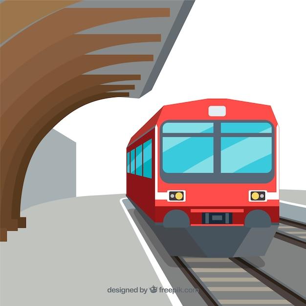 Sfondo rosso del treno nella stazione in disegno piatto Vettore gratuito