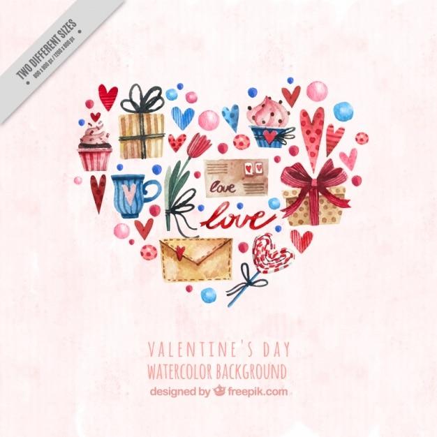 Sfondo san valentino con gli oggetti acquerello for Oggetti in regalo gratis