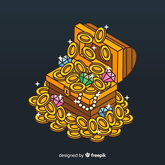 Sfondo scatola del tesoro Vettore gratuito