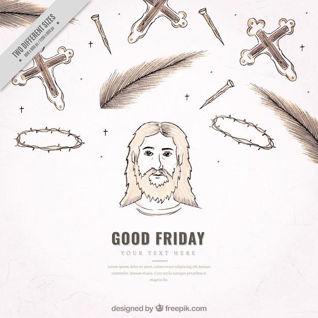 Sfondo schizzi di buoni elementi di venerdì Vettore gratuito