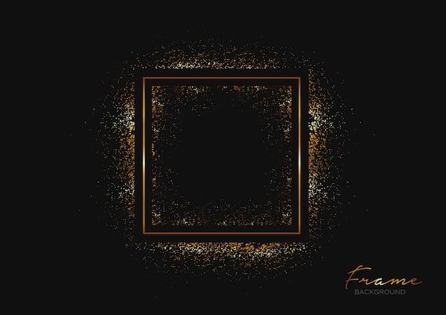 Sfondo scuro con cornice e riflessi dorati Vettore Premium