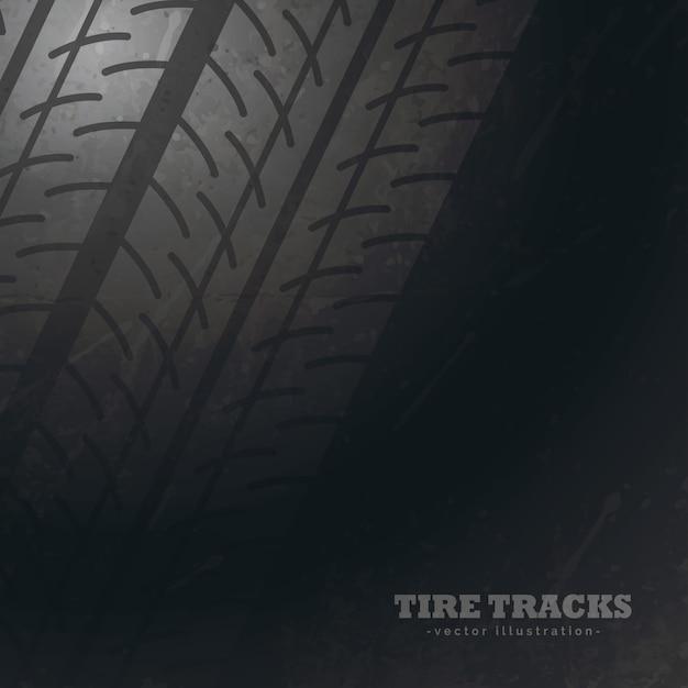 Sfondo scuro con segni di tracce di pneumatici Vettore gratuito