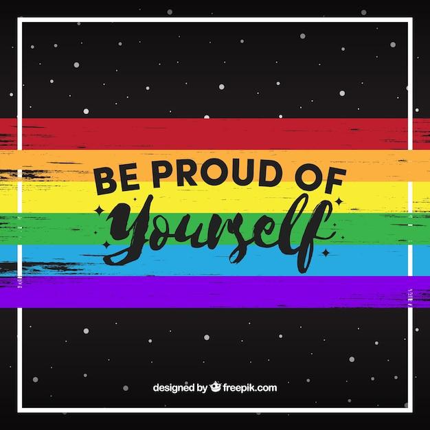 Sfondo scuro di banner colorato con messaggio di orgoglio giorno Vettore gratuito