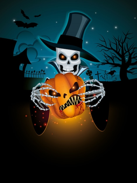 Sfondo scuro di halloween Vettore Premium