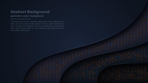 Sfondo scuro di lusso strutturato e ondulato con una combinazione di punti brillanti. Vettore Premium