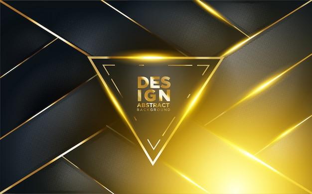 Sfondo scuro moderno con shine, gold line e glitter Vettore Premium