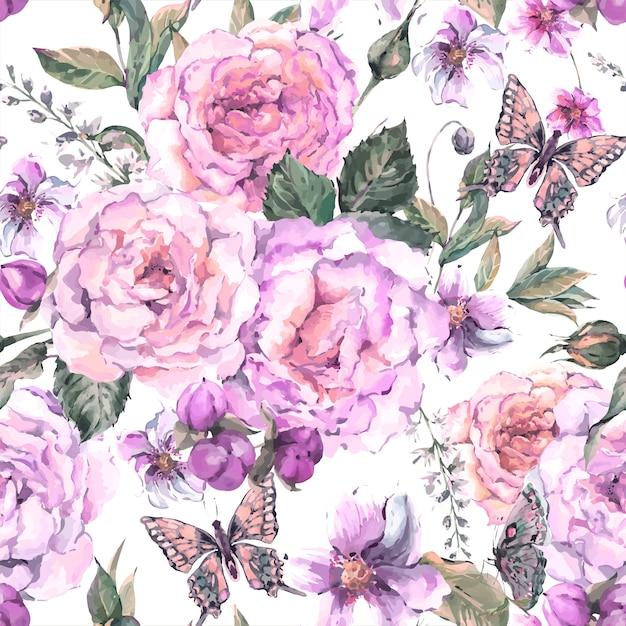 Sfondo senza soluzione di continuità con rose e farfalle Vettore Premium