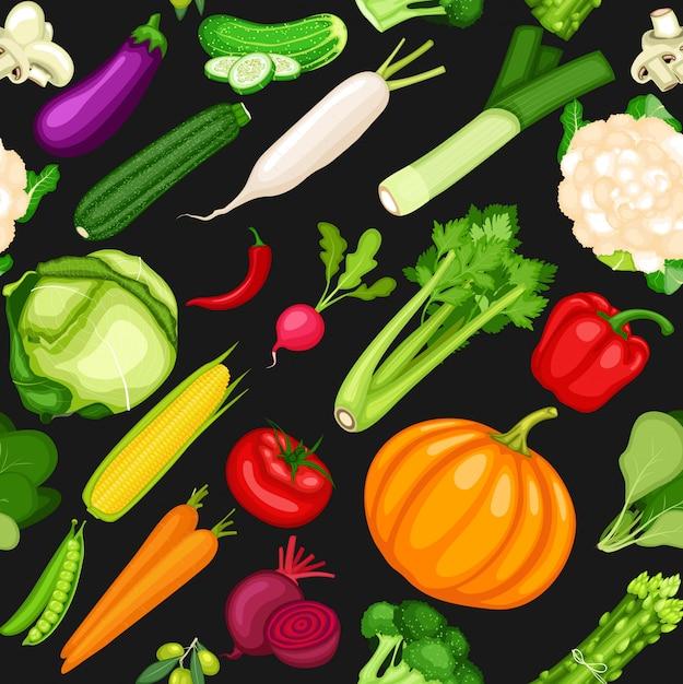 Sfondo senza soluzione di continuità di verdure Vettore Premium