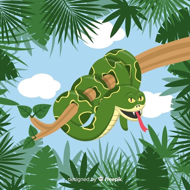 Sfondo serpente piatto Vettore gratuito