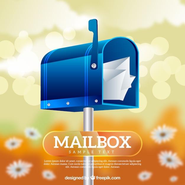 Sfondo sfocato con i fiori della cassetta postale blu Vettore gratuito