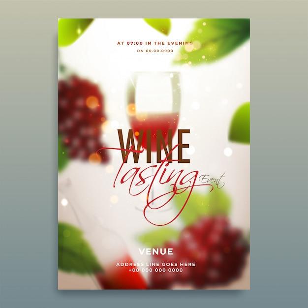 Sfondo sfocato lucido decorato con uva e bicchiere di vino per la progettazione del modello di wine tasting party. Vettore Premium