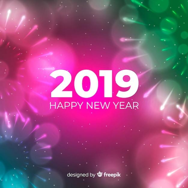 Sfondo sfocato nuovo anno 2019 Vettore gratuito