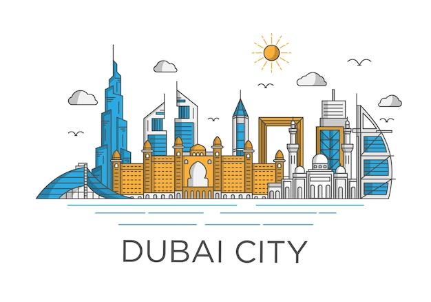 Sfondo skyline della città di dubai con il concetto iconico Vettore Premium