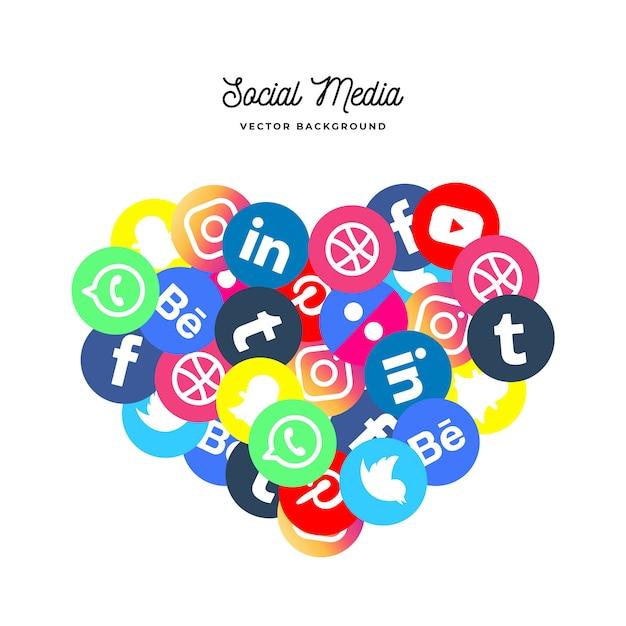 Sfondo sociale dei media a forma di cuore Vettore gratuito