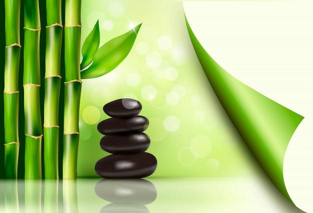 Sfondo spa con bambù e pietre. illustrazione vettoriale Vettore Premium