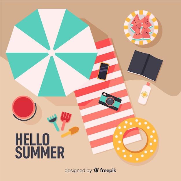 Sfondo spiaggia piatta estate Vettore gratuito
