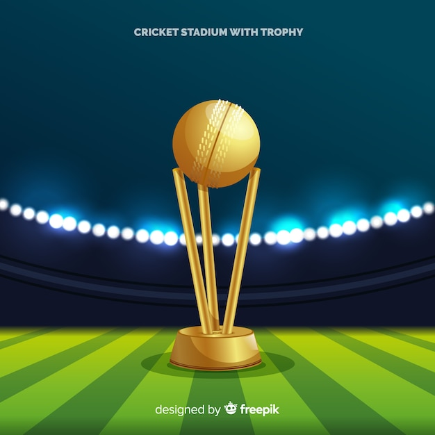 Sfondo stadio di cricket con coppa d'oro Vettore gratuito