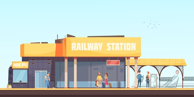 Sfondo stazione ferroviaria Vettore gratuito