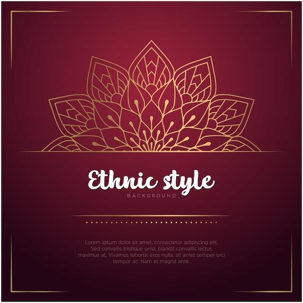 Sfondo stile etnico con mandala e modello di testo Vettore gratuito