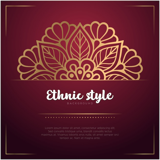 Sfondo stile etnico con mandala e testo modello, colore rosso e dorato Vettore gratuito