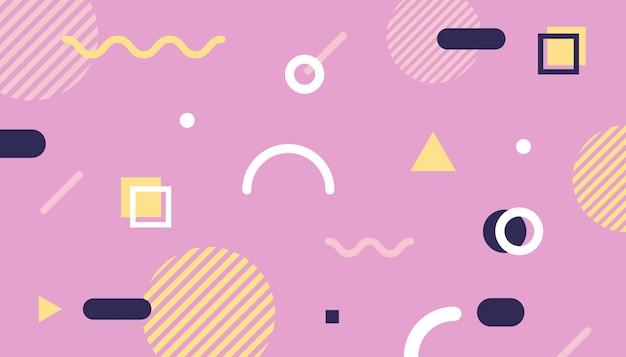 Sfondo stile memphis con forme geometriche Vettore Premium