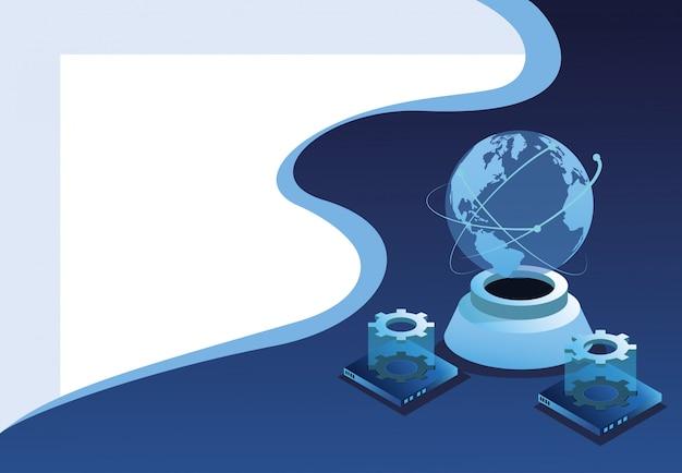 Sfondo tecnologia digitale Vettore Premium