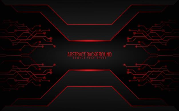 Sfondo tecnologia nero e rosso Vettore Premium