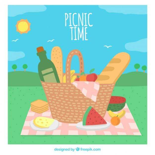 Sfondo tempo picnic Vettore gratuito