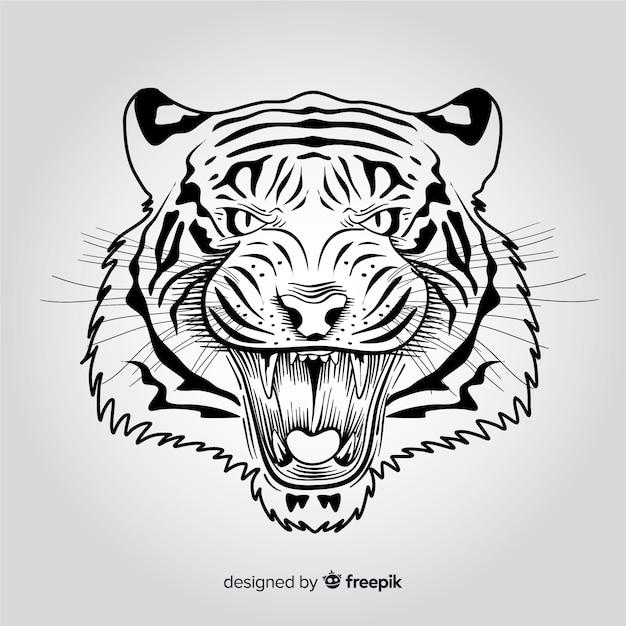 Sfondo tigre arrabbiato Vettore gratuito