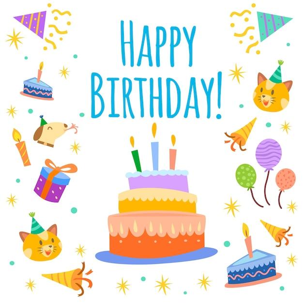 Sfondo torta di compleanno Vettore gratuito