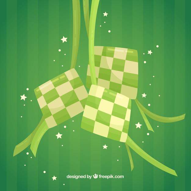 Sfondo tradizionale ketupat Vettore gratuito