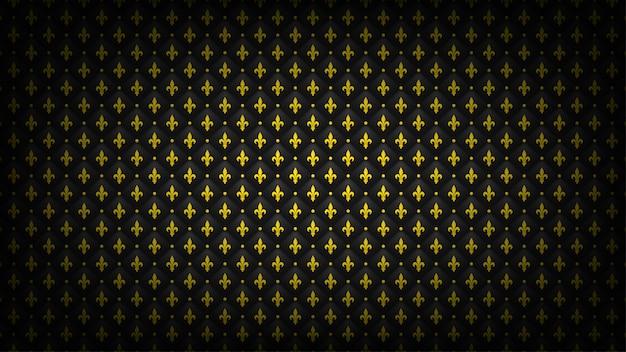 Sfondo trapuntato nero con simbolo di fleur-de-lis dorato. carta da parati reale di lusso. Vettore Premium