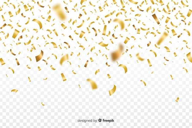 Sfondo trasparente con coriandoli dorati Vettore gratuito