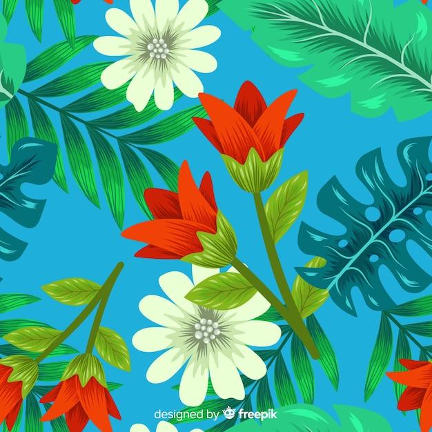 Sfondo tropicale con fiori colorati Vettore gratuito