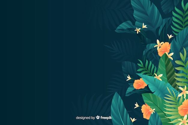 Sfondo tropicale naturale con foglie Vettore gratuito