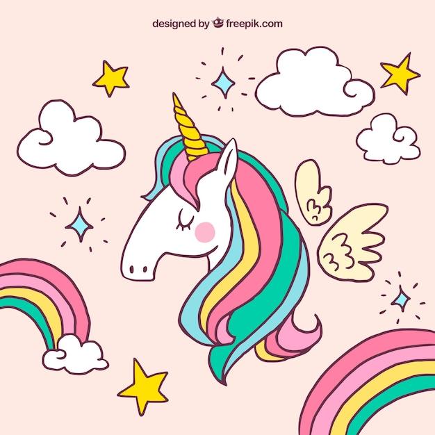 Sfondo Unicorno e altri elementi disegnati a mano Vettore gratuito